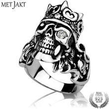 MetJakt 925 Sterling Silver Men's Punk Rock Crown Skull Ring with Zircon & Handmade Ring for Cool Men Biker Gothic Jewelry(China)