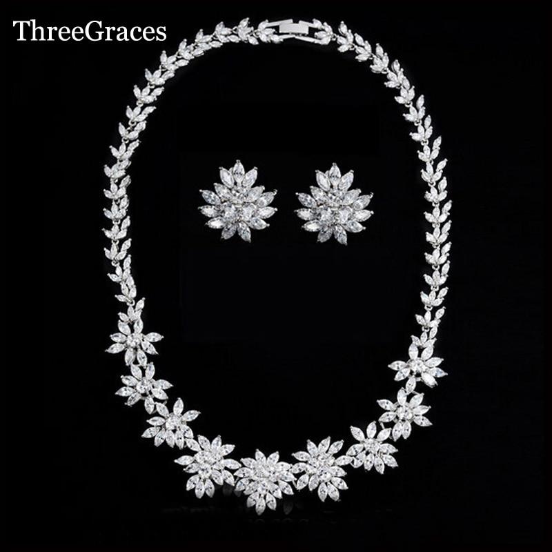 ThreeGraces Nigerian Women Leaf Shape Cubic Zircon Stone Big Bridal Necklace Earrings Jewelry Set For Wedding Dress JS047 a suit of vintage leaf shape necklace and earrings for women