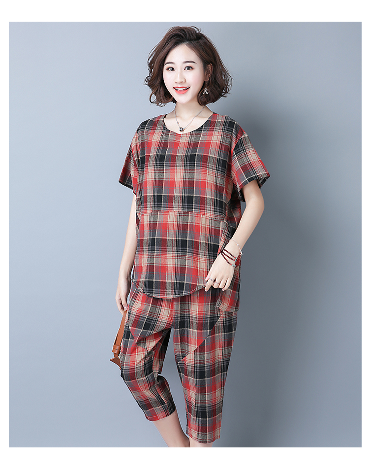 2019 Summer Plaid Cotton Linen Two Piece Sets Outfits Women Plus Size Short Sleeve Tops And Cropped Pants Casual Suits Red Green 41