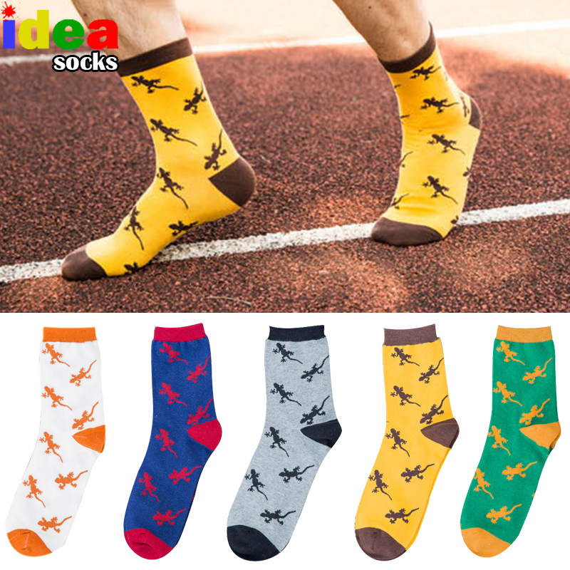 Cotton Cartoon Animal Jacquard Novelty Men Socks Lizard Gecko Pattern Comfortable Pure Socks Brand Embroidery Happy Long Socks