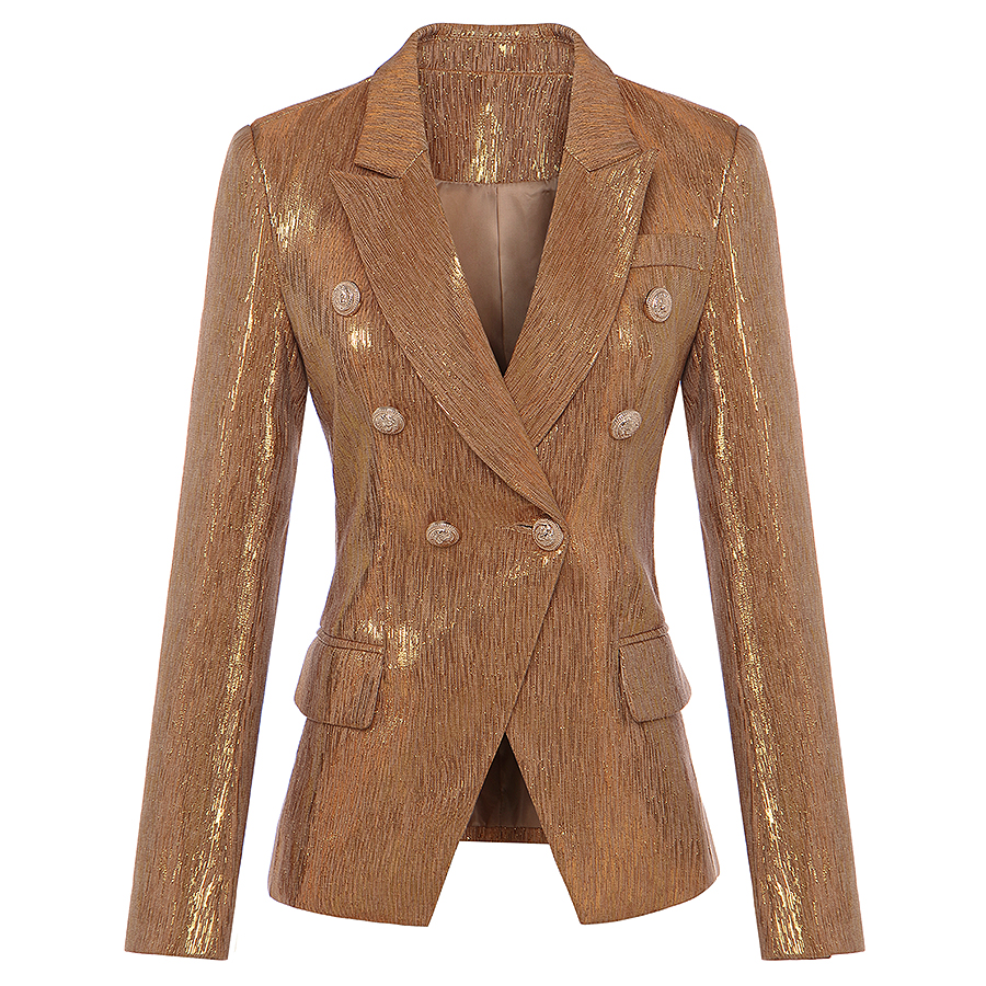 New Fashion Fall Winter 2020 Designer Blazer Women's Lion Metal Buttons Double Breasted Blazer Jacket Outer Coat Gold