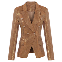 New Fashion Fall Winter 2018 Designer Blazer Women's Lion Metal Buttons Double Breasted Blazer Jacket Outer Coat Gold