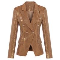New Fashion Fall Winter 2017 Designer Blazer Women S Lion Metal Buttons Double Breasted Blazer Jacket