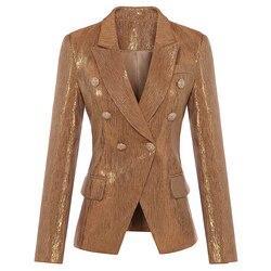 Nueva moda Otoño Invierno 2018 chaqueta de diseñador de mujer con botones de Metal de León doble botonadura Blazer chaqueta de abrigo exterior dorado