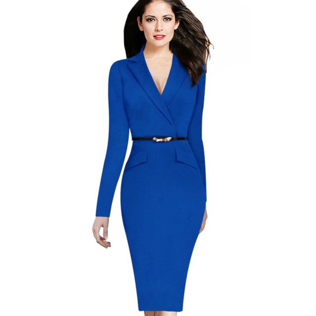 Fashion Women  Long Sleeves  Dresses Spring Autumn V-Neck Work Business Office Sheath Dress OL with Belt