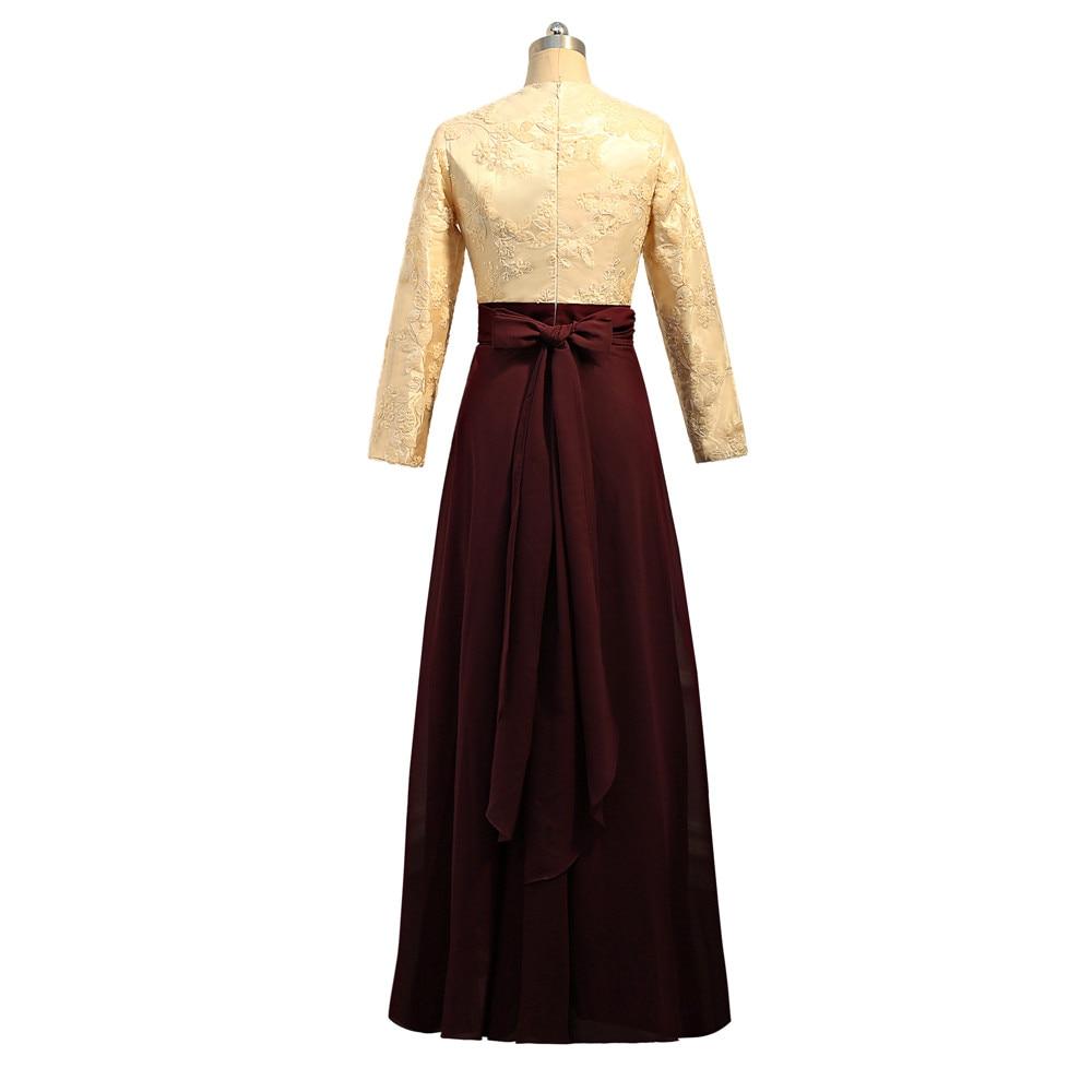 Vestidos de Noche musulmanes morados 2019 A line de manga larga de gasa lentejuelas cuenta islámica Dubai Kaftan saudí árabe vestido de noche largo - 3