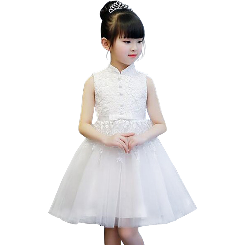 Princess Lace Flower Girl Dresses 2018 Tulle Girls Pageant Dresses First Communion Dresses Kids Evening Gowns White/Pink/Red 1 12t pink lace long trailing wedding dress flower girl dresses appliques first communion dresses for girls pageant dresses