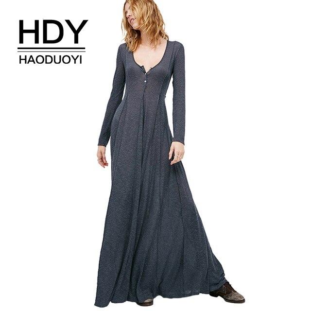 HDY Haoduoyi с глубоким v-образным вырезом и длинным рукавом женское платье длинное вечернее Макси платье бальное платье vestidos Серое Женское плать...