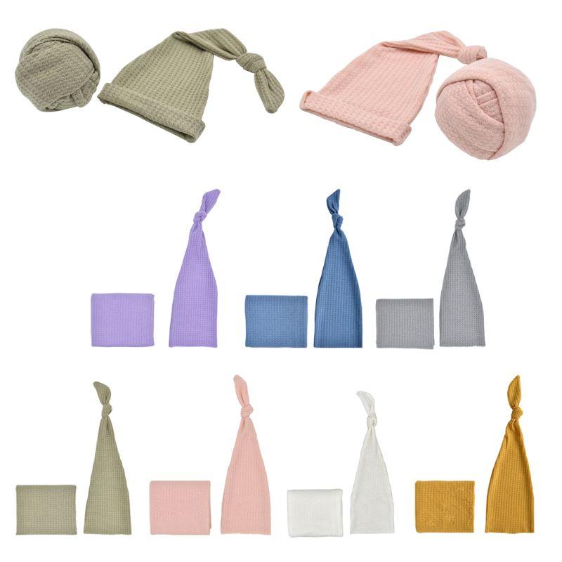 2019 Bambino Appena Nato Fotografia Prop Infantile Multi-colori Sleepy Berretto Di Maglia + Knit Wrap Set Studio Fotografico Accessori Bello A Colori
