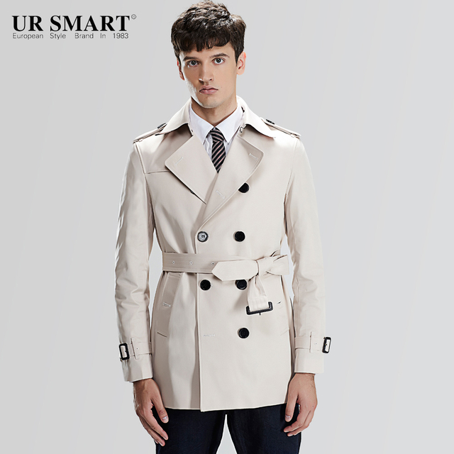8f00f492137 URSMART and brief paragraph double-breasted men s windbreaker with waist  rice white male trench coat