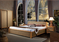 2016 new design fashion leisure rattan bed bedroom furniture without cushions