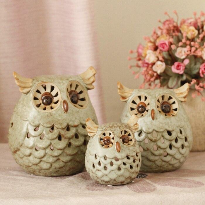 Free shipping fashion Owls ceramics decor desktop decoration unique crafts wedding christmas home decor 3 pcs