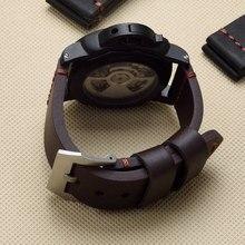 Merapenas pulseira de couro genuíno, pulseira de couro preta marrom 22mm 24mm 26mm para rom pam441 111 relógio de piloto grande alça garmin fenix3
