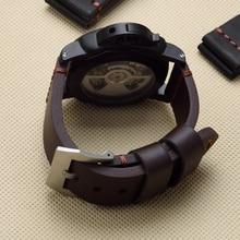 MERJUST 22mm 24mm 26mm siyah kahverengi hakiki deri Watchband bileklik PAM için PAM441 111 büyük Pilot izle garmin Fenix3 kayış