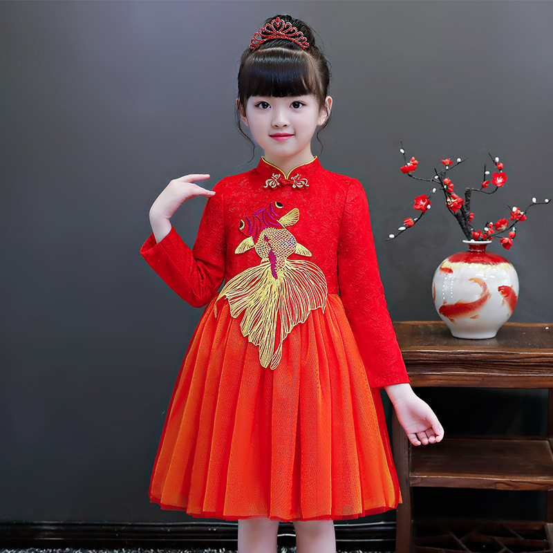 Traditional Mandarin Collar Child Girls Cheongsam RED Chinese Style Children Kids Dress Novelty Stage Performance Qipao S 3XL