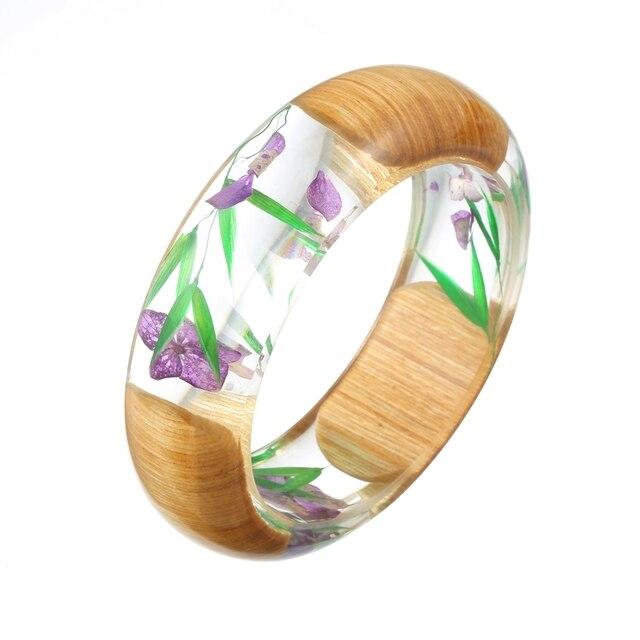Dry Flowers Wood Bangles Transparent Bracelets Luxury Bracelet Vintage Cuff For Women Manchette Jewelry Pulseira