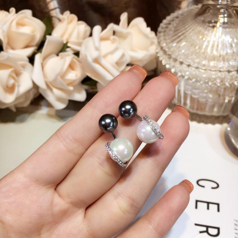 Nouveauté boucles d'oreilles en perles noires et blanches de haute qualité avec Zircon élégant boucles d'oreilles scintillantes décoratives pour femmes