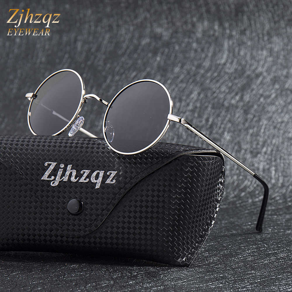 Gold Steampunk Zjhzqz Small Designer Blue Round Classic Metal Silver Brand Frame Polarized Sunglasses Vintage Green Retro Lens HE2IWD9Y