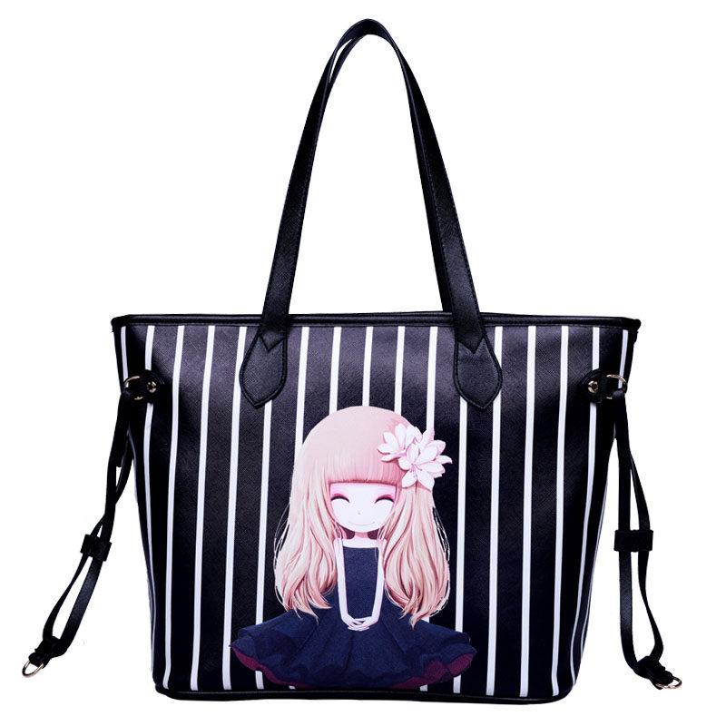 New Fashion Print Tote Bag Women Cute Cartoon Figure Large Hand Bag Side Straps Simple Bag