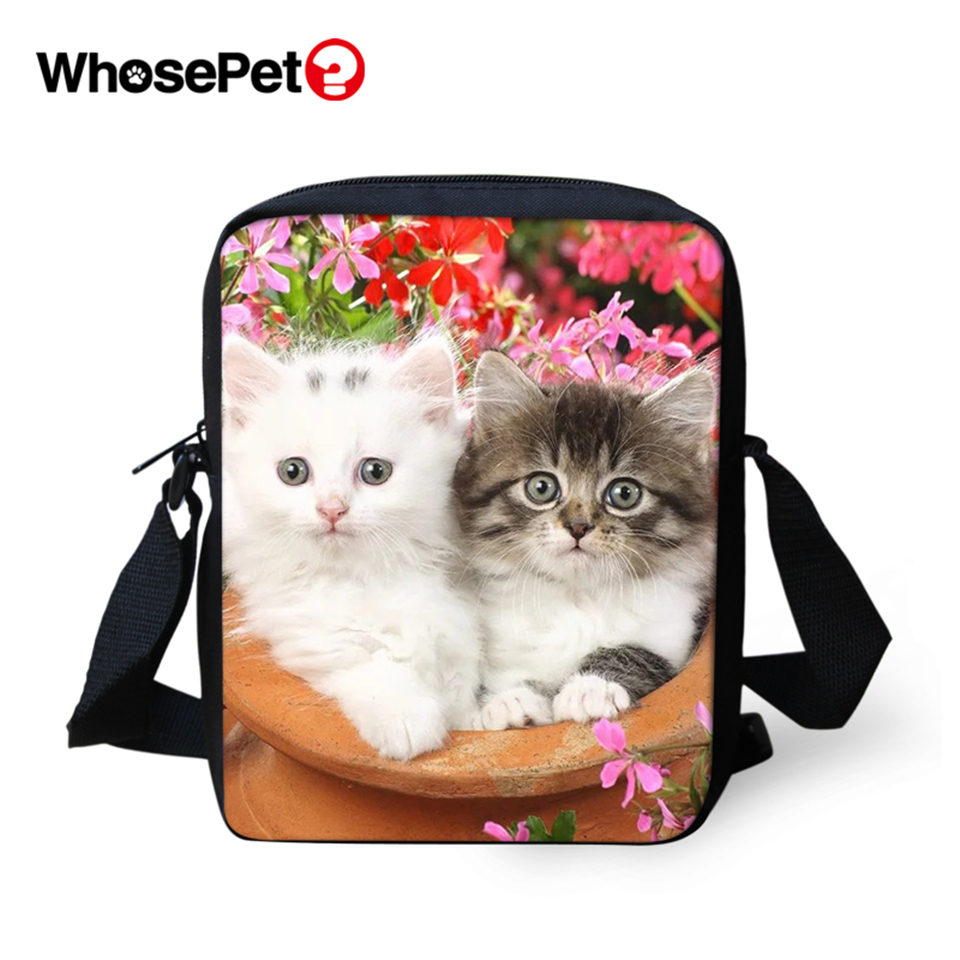 WHOSEPET Kawaii Cat Prints Cross Body Messenger Bags Women Shoulder Fashion Lady Mini Flap Postbags Cool Girls School