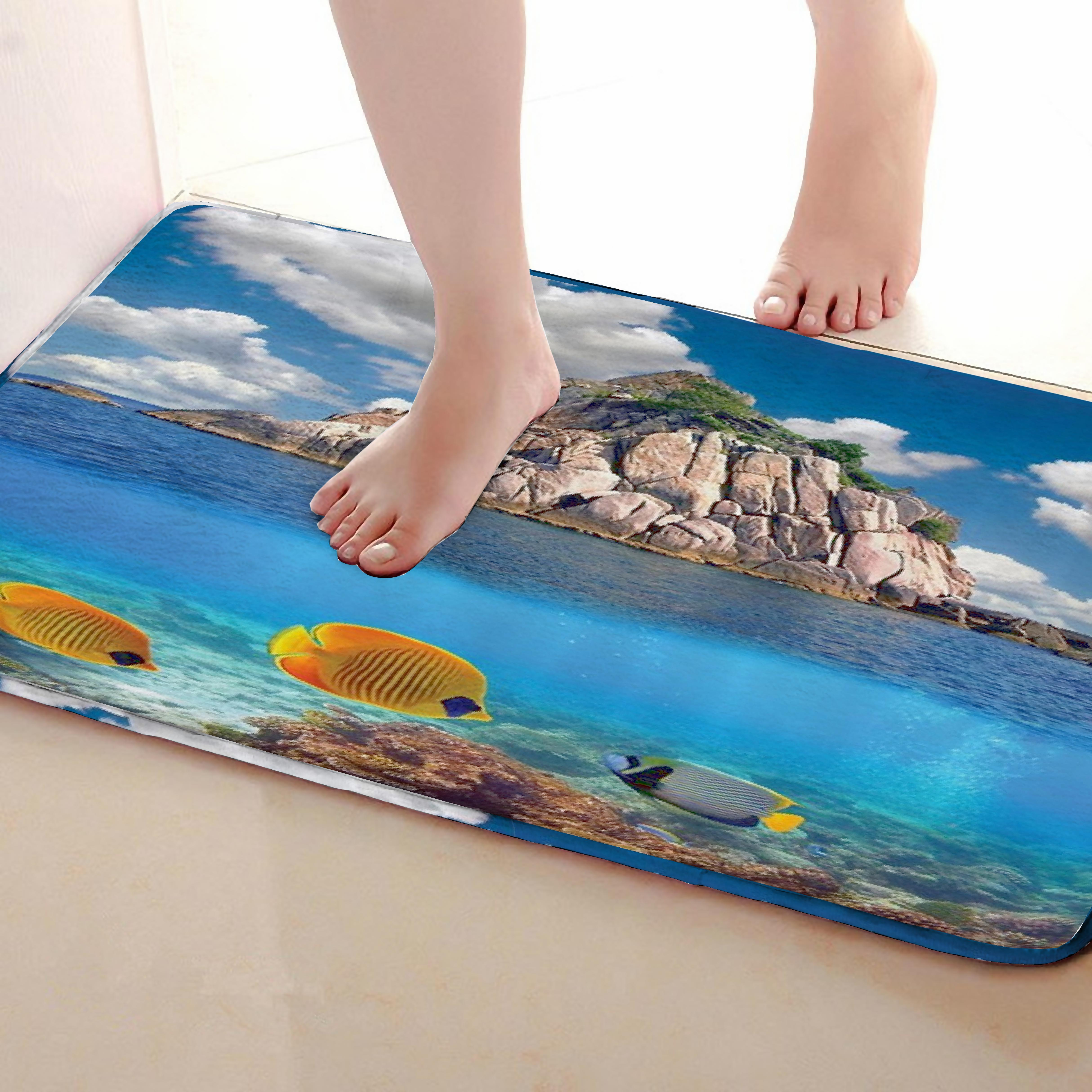 Sea Style Bathroom Mat,Funny Anti skid Bath Mat,Shower Curtains Accessories,Matching Your Shower Curtain