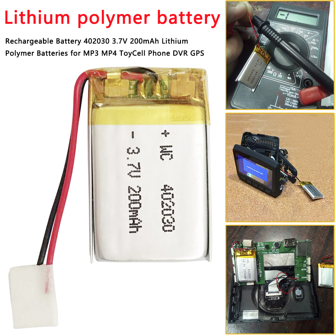 Rechargeable Battery 402030 3.7V 200mAh Lithium Polymer Batteries For MP3 MP4 Toy Cell Phone DVR GPS Li-Po Battery