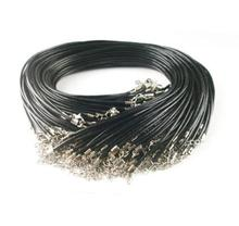 Wholesale 1.5mm Black Wax Cord Necklace Rope 45cm Chain Lobster Clasp DIY Jewelry Accessories 100pcs/lot wholesale 20pcs lot 1 5mm multicolor leather cord wax rope chain necklace with lobster clasp diy jewelry accessorie z570 page 3