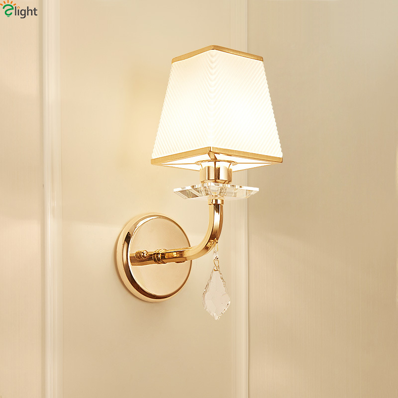 Modern Gold Metal Led Wall Lamp Lustre Crystal Bedroom Led Wall Lights Fixtures Living Room Led Wall Light Corridor Wall Sconce modern chrome metal led wall lamp lustre crystal living room led wall lights fixtures glass bedroom led wall light wall sconce