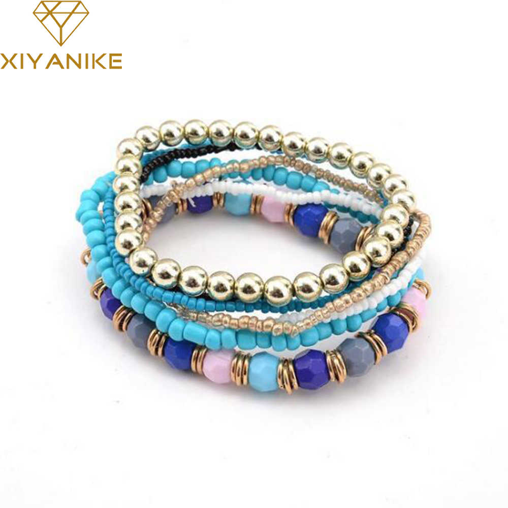 Nowa wiosna koreańska markowa moda Bohemia bransoletka z koralików zroszony wielowarstwowa bransoletka Strand bransoletki dla kobiet dziewczyna B122