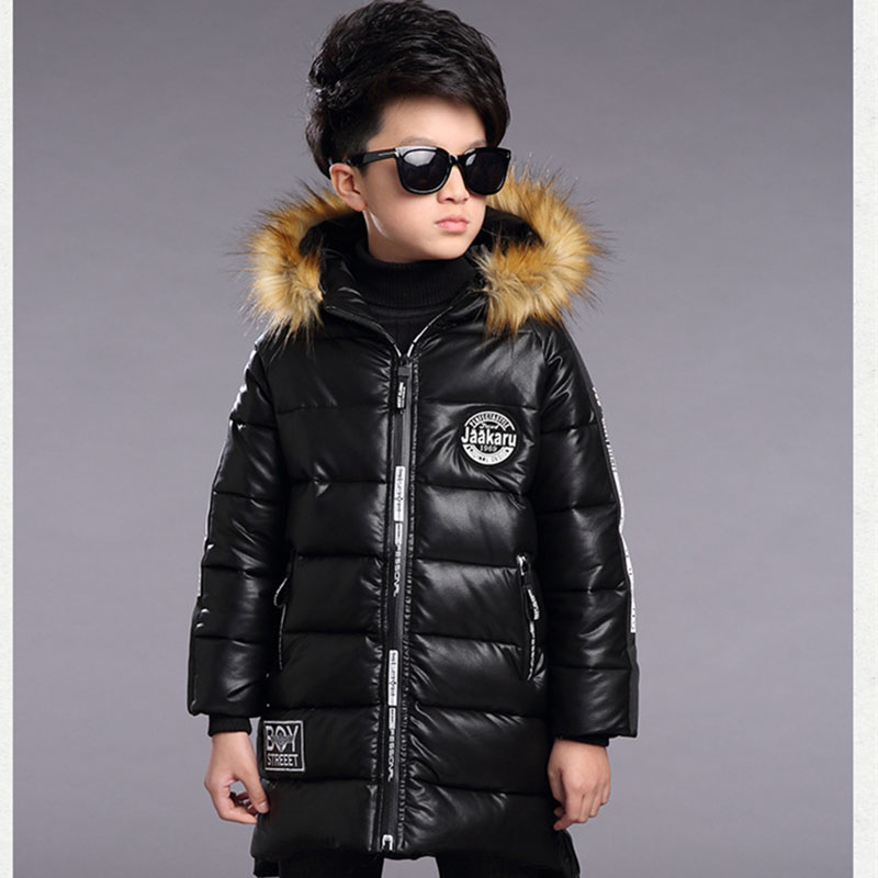 2017 Children Winter Coats Boys Winter Waterproof Jacket Thickening Warm Hooded Boys PU Leather Jackets Fashion Boys Outerwear 2017 fashion teenager motorcycle coats boys leather jackets patchwork children outerwear letter printed boy faux leather jacket