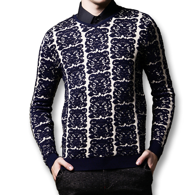 2016 New Men Sweaters and Pullovers Men's Casual Fashion Slim Fit Large Size Long Sleeved V Neck Floral Pullovers Sweaters Male