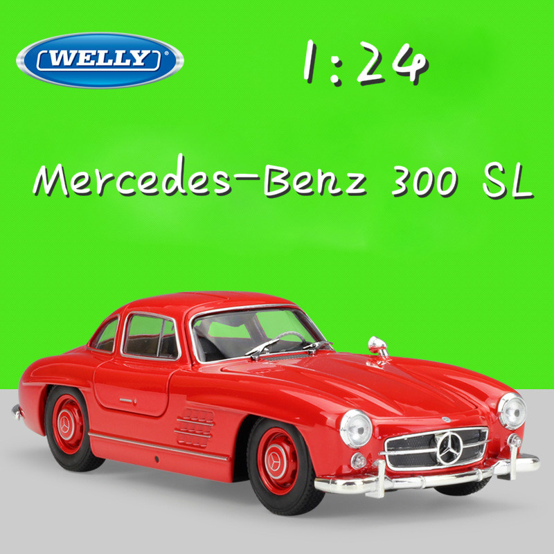 WELLY 1:24 Scale Simulator Metal Model Car Benz 300 SL Diecast Cars Toy Car Classic Alloy Cars Toy For Children Gifts Collection цена