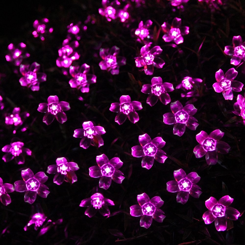 Red Solar Party Decorations Flower  String Lights  Water Proof (Includes 30 LED Lights) (2)