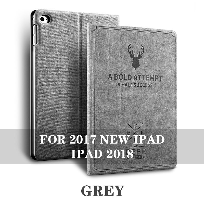 Gray 5 colos iPad 9.7 inch smart case with stand and 3d deer pattern for iPad 2017, 2018