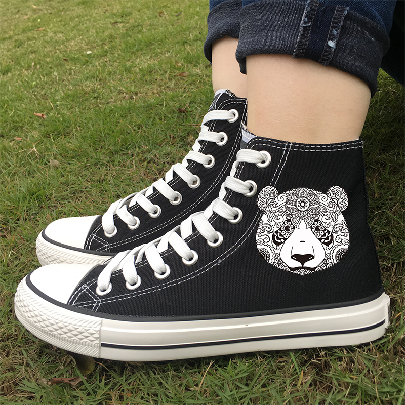 Original Black White Canvas Lace up Sneakers Plimsolls Esportivos
