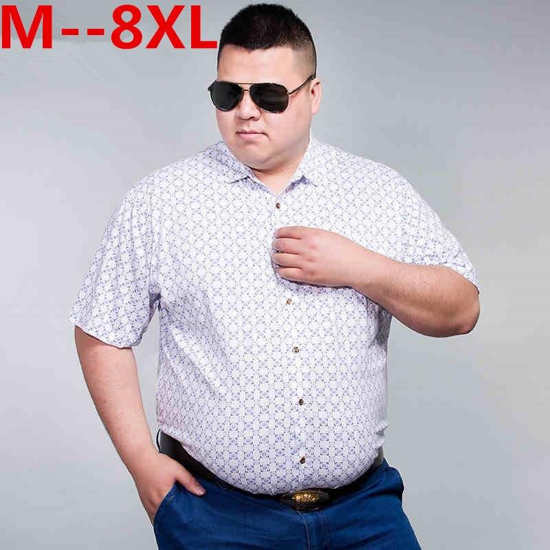10XL 8XL 6XL 5XL 4XL 2018 New Summer Mens Cotton Dress Shirts Short Sleeve Plaid Pattern Business Formal Shirt Male Camisa Male