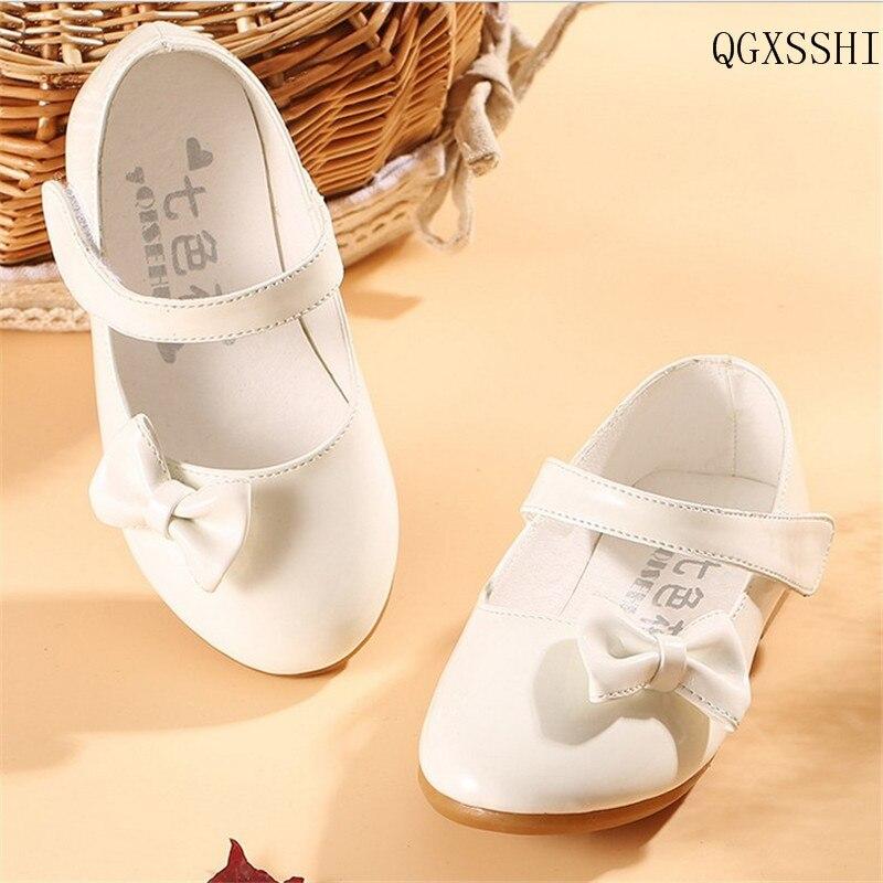 5e74bc8a800 Qgxsshi Niñas 2016 Niñas zapatos de cuero princesa niños bebé niños verano  BowTie niña escuela boda