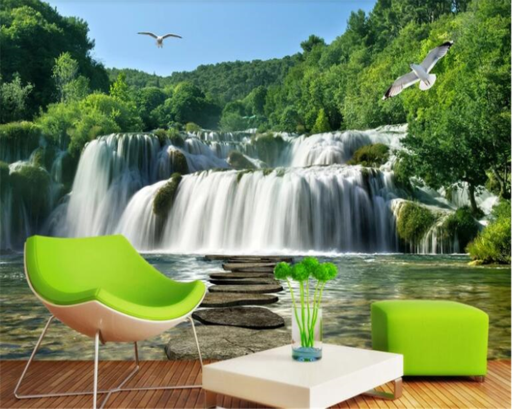 beibehang papel de parede 3d High definition three-dimensional landscape waterfall river forest murals wallpaper papier peint
