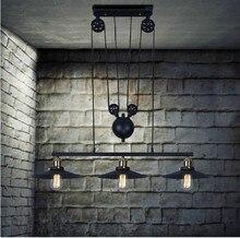 Polea De Hierro Loft luces pendientes de la vendimia Lámpara de Barra de la Cocina Decoración Del Hogar E27 Edison Lámparas Envío Libre 3 Cabezas