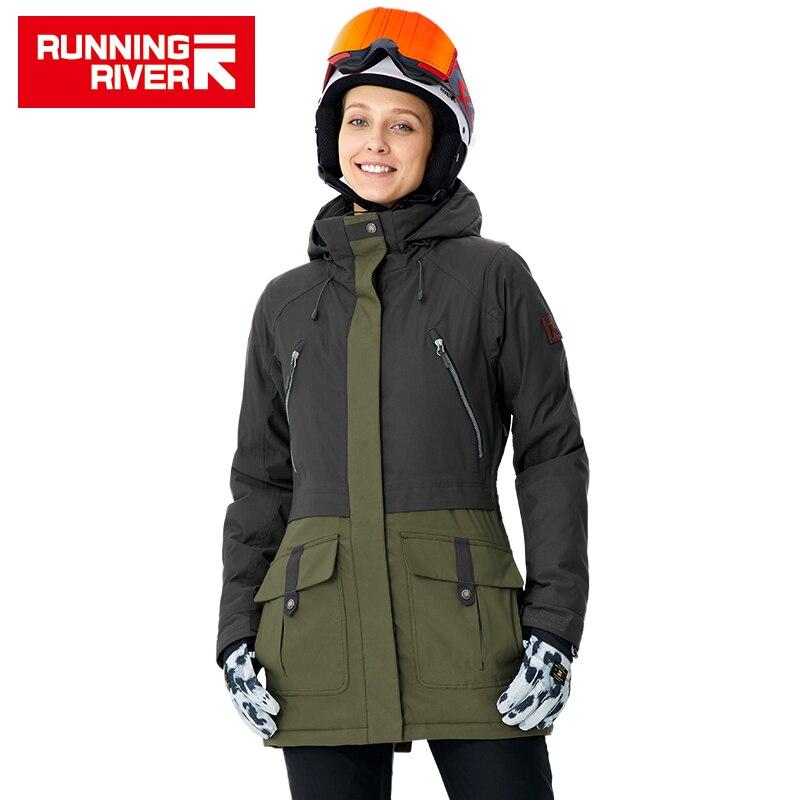 RUNNING RIVER marca mujeres Snowboard chaquetas para invierno caliente Mediados de muslo ropa deportiva al aire libre deporte de alta calidad # a8010