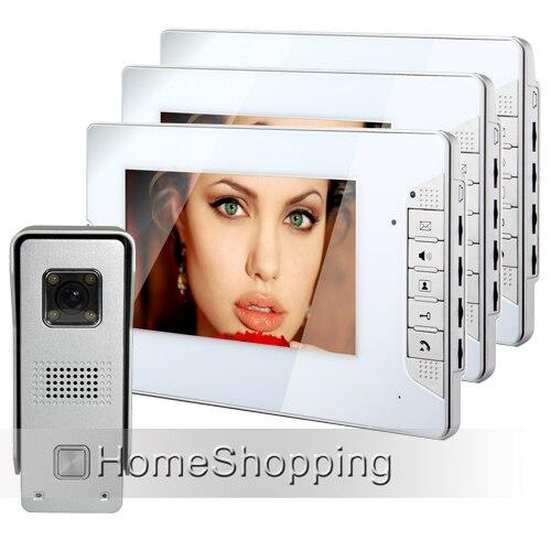 Новый Дом Безопасности 7 дюймов Цвет Телефон Видео Домофон система 3 Белые Мониторы 1 Дверной Звонок Камера В Наличии БЕСПЛАТНАЯ ДОСТАВКА