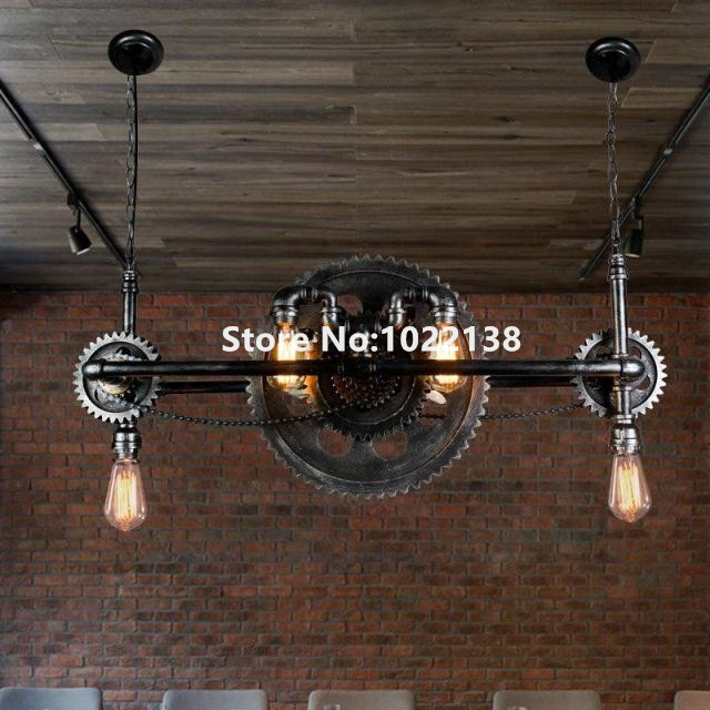 Vintage Iron Water Pipe Wood Gear Pendant Light. Retro loft industrial style suspension edison lamp Art Decoration lighting