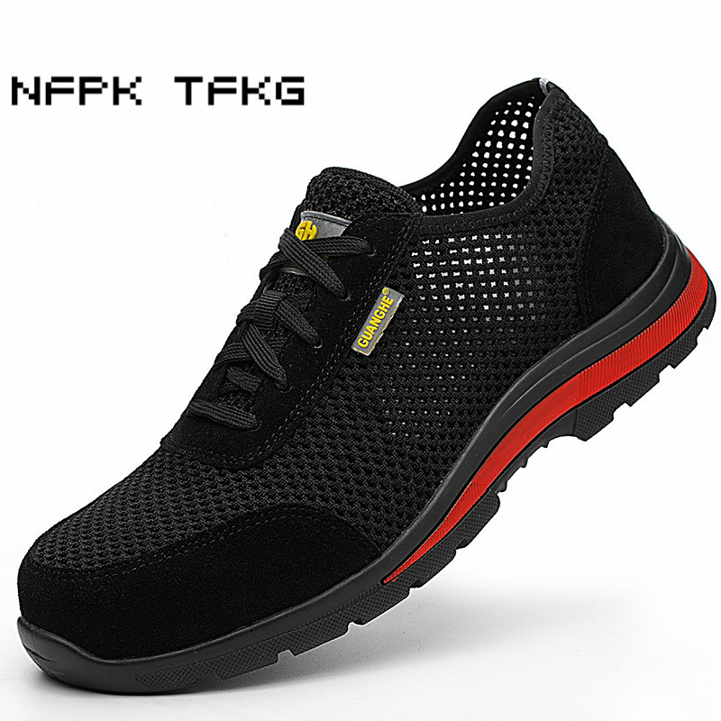 large size 45 46 men fashion breathable mesh steel toe caps work safety summer shoes anti
