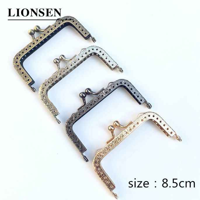 LIONSEN 8.5cm square Metal Purse Frame Handle for Clutch Bag Handbag Accessories Making Kiss Clasp Lock Antique Bronze gun balck