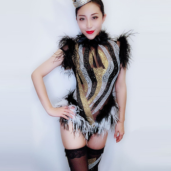 2018 Sparkly Rhinestones Black White Feather Mesh Bodysuit Leggings Nightclub Women Dance Performance Outfit Party Wear DL3424