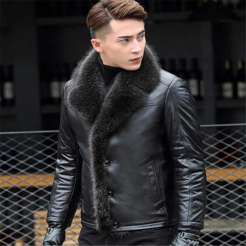 M-5XL 2018 inverno novos homens jaqueta de couro casacos de couro Genuíno engrossar lambswool gola de pele animal jaqueta masculino plus size