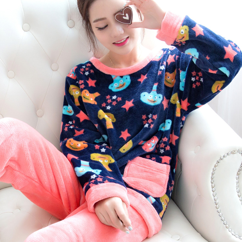 Autumn and winter thickening coral fleece sleepwear female winter cartoon long sleeve flannel sleepwear lounge set
