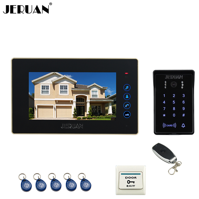 JERUAN Home wired 7`` touch key video door phone intercom system 700TVL RFID waterproof touch key password keypad camera jeruan 8 inch tft video door phone record intercom system new rfid waterproof touch key password keypad camera 8g sd card e lock