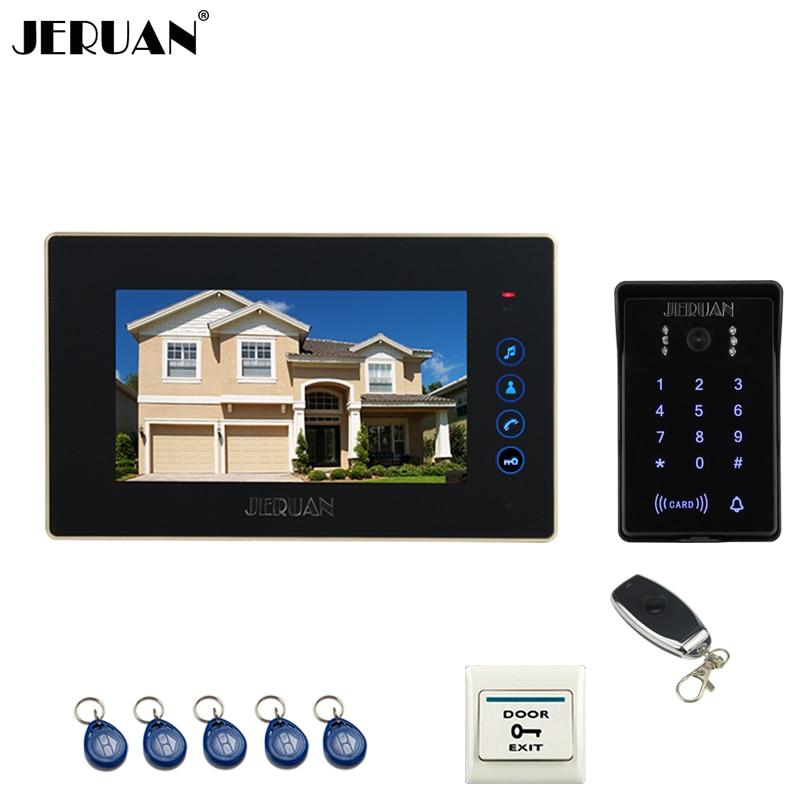 JERUAN Home Wired 7`` Touch Key Video Door Phone Intercom System 700TVL RFID Waterproof Touch Key Password Keypad Camera