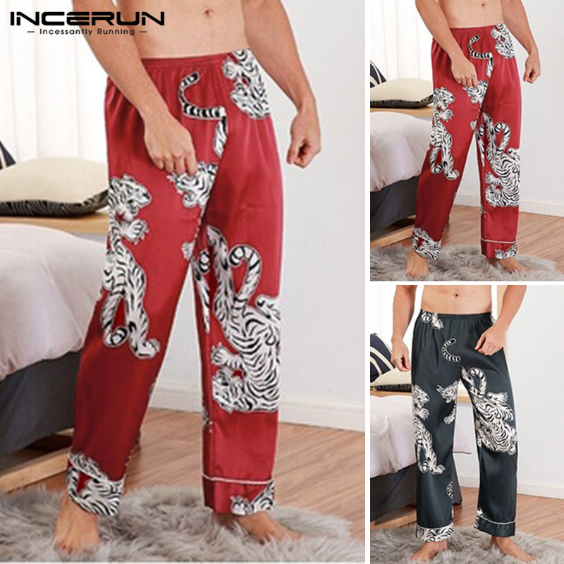 INCERUN 2019 Printing Men Sleep Pants Silk Satin Leisure Comfortable Sleepwear Vintage Men Lounge Pants Bottoms Pajamas S-5XL